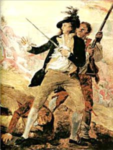 "Peter Salem in John Trumbull's painting ""The Death of General Warren"""