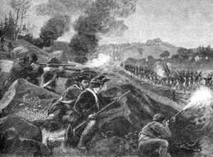 Militia fire upon the British column during march from Concord towards Boston