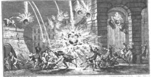 Exploding carcusses bombard a village
