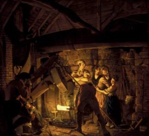 An Iron Forge 1772 Joseph Wright of Derby 1734-1797 Purchased with assistance from the National Heritage Memorial Fund, the Art Fund and the Friends of the Tate Gallery 1992 http://www.tate.org.uk/art/work/T06670