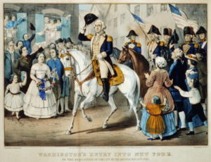 Washington rides into New York City after the British evacuate.